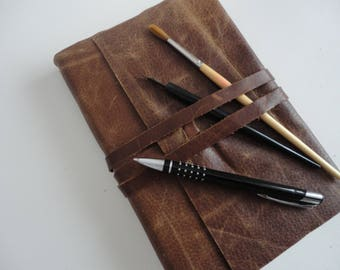 Rich caramel brown leather journal