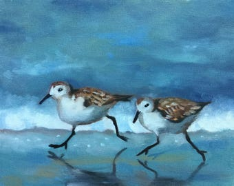 Sandpipers running on sea shore, Original oil painting, 8x10 inches, Bird painting