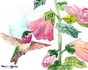 ACEO Limited Edition 1/25- Little dancer, Hummingbird, Cute bird art print of an original watercolor, Gift for bird lovers