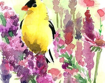 ACEO Limited Edition 2/25 - Goldfinch in summer garden, Art print of an original ACEO watercolor, Home decor idea, Gift for her