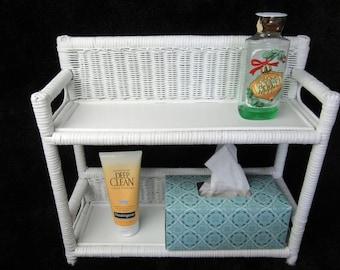Vintage White Wicker Wooden Wall Shelf~Shabby Chic White Decor Ornate Two Tier Wall Shelf~Bathroom Bedroom Nursery Boho Hippy Wicker Shelf
