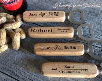 Bottle Opener, Weddings, Personalized Bottle Opener, Groomsmen Gift, Wedding Gift, Engraved Wood opener, Custom Bottle Opener, Beer Opener,