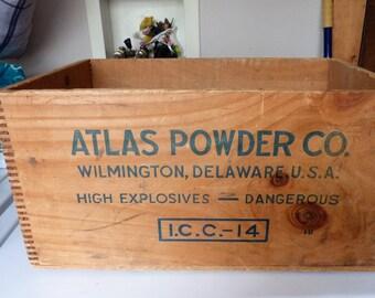 vintage atlas powder co dynamite wooden box