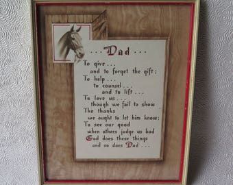Buzza Motto Print Dad Father Poem Horse Original Frame Metal Hanger Vintage 1940s 50s Cowboy Western Father's Day Art Gift