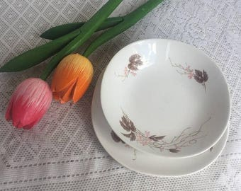 Wedding Sale Vintage Kokura Ware China Set / White Pottery with Pink Flowers and Brown Leaves /  Berry Bowl and Bread Plate / Made in Japan