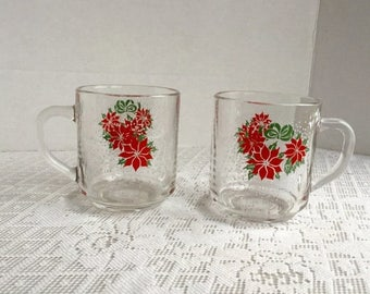 CIJ Poinsettia Drinking Glass Mugs / Vintage Christmas Glass Coffee Cups by Luminarc