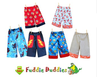Boys Pants Pattern. Toddler Pants, Superhero Pants, Beach Shorts, Shorts, Lounge pants, Ruffle Pants. Toddler Sewing Pattern pdf Fuddie Duds