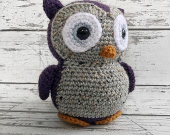 Flower the Owl, Crochet Owl Stuffed Animal, Owl Amigurumi, Plush Animal, Ready to ship