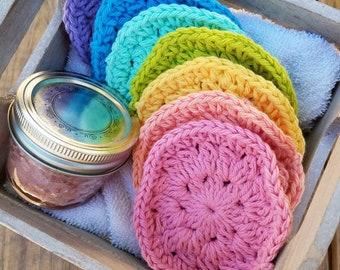 Pastel Rainbow Face Scrubby, Crochet Face Scrubbies, Face Cloths, 100% Cotton Scrubby Set, Reusable Face Scrubbies, Crochet Face Scrubby Set