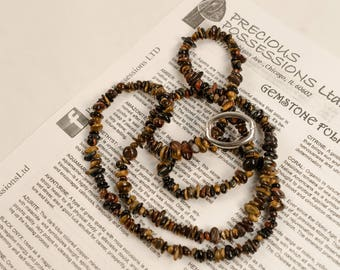 Tiger's Eye Necklace Chip Beads Nuggets Long Brown Red Blue Strand 36 Inch with Clasp