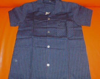 DEADSTOCK Vintage Men's Shirt 1950s Blue Cotton Shirt Unworn Hot Rod NWT Rockabilly Boy Teenager sz 152 XS Men's chest to 33 in