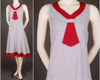 1920 sailor dress cotton stripes blue white red size S (UK 10 12)