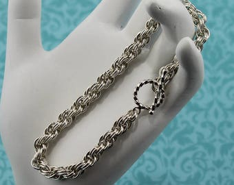 Double, Spiral Rope, Chainmaille Bracelet, in Sterling Silver, 14K Gold-Filled, or 14K Rose Gold-Filled