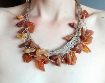 Natural Raw Amber Necklace, Linen Nature Necklace by Bustani