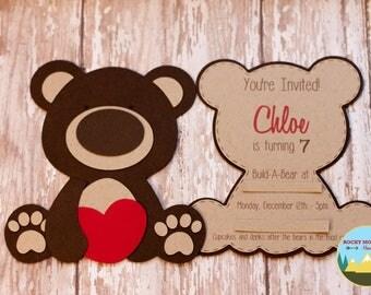 Teddy Bear Invitation, Build-a-Bear Birthday Invitation
