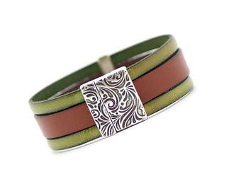 Elegant Men Bracelet, Brown Olivin Men's cuff Bracelet, hipster Men's Bracelet,Men Fashion, Mens Jewelry, modern, christmas gift for men