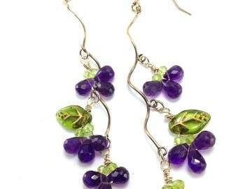 HipCricket Original Earrings Grape Amethyst Twists Sterling Silver Art Glass Leaves Shoulder Dusters