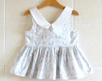 Bunny Peplum Top - Peplum Top, toddler top, girls top,  bunny top, bunny dress, peter pan collar,
