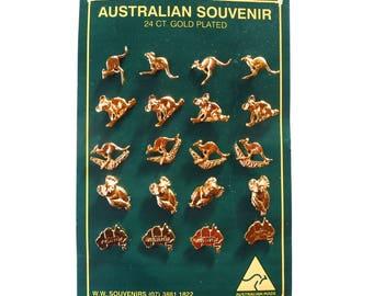 Australian Souvenir Pins 24Ct Gold Plated Australia Made