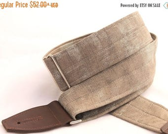 ON SALE this week only Guitar Strap - Monument Grey - Leather Ends and Optional Pick Pouch