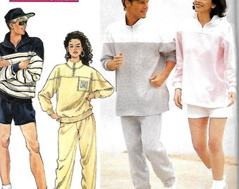 Simplicity 7935 Misses, Men's And Teens Sweatpants Or Shorts And Pullover Top Pattern, XS-M, UNCUT