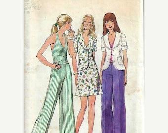 ON SALE 1970's Misses Jacket, Halter Vest, Mini Skirt & Pants Pattern, Simplicity 5689, 12 UNCUT