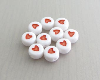 10 Red Heart Beads, 7mm White Round Acrylic Bead, Bead Destash