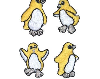 ID 0511ABCD Set of 4 Yellow Tiny Penguin Patch Bird Embroidered Iron On Applique