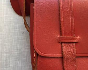 1940's red leather shoulder bag with adjustable strap