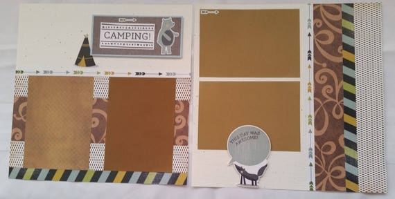 Scrapbook CAMPING TENT / Premade Pages School / 2 PAGE Layout 12x12
