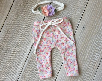 Newborn Pant Prop and Headband SET - Pink Floral - Ready to Ship