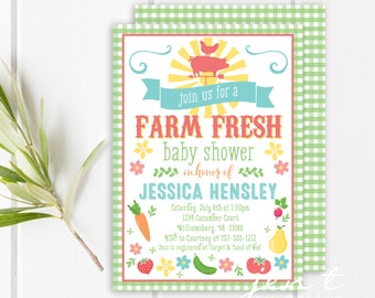 Farm Baby Shower Invitations / Farmers Market Invitations / Fruit Baby Shower / Baby Shower Invitations