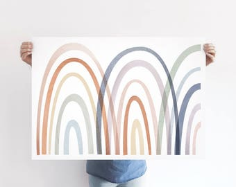 Pastel Rainbow A1 Art Print, Abstract Multi Colour Poster, Extra Large Print, Colourful Wall Decor, Kids Room, Nursery, Girls Room