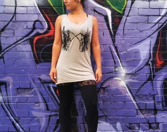 Unisex, American Apparel, Tank Top ,Hand printed, Tope,'The Creatures', Super Soft, Viscose, Over Sized, Tank, Dress, Top, Shambahla, Yoga