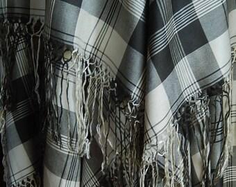 Antique fine woven silk shawl crinoline striking black & cream check plaid 1800's