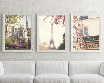 Paris photography, canvas art, Paris prints, Paris wall art, large wall art, Paris canvas, canvas wall art Eiffel tower print cherry blossom