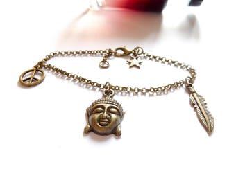 Steampunk ♰Bouddha♰ Tierracast bronze bracelet
