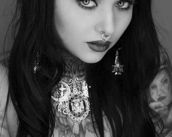 "Hoop earrings silver goth cross ""Corpus Christi 666 666"""