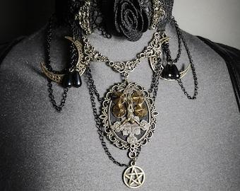 Black Lace bib necklace bronze pentagram crucifix Corpus Christi 666 666