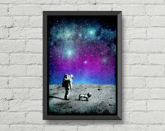 Astronaut walking his dog on the moon,poster,digital print,space,art,moon poster,galaxy,dog,home decor,wall decor