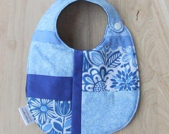 Handmade Summer Bib for girl, Quilted Patchwork Bib, Scandinavian design fabric Drool Bib, New Baby Gift Gift for Baby Girl Outdoor party