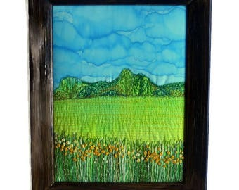 Fibre Art Wall hanging textile Embroidery picture  Fabric painting