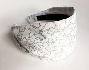 Womens headbands Glitter sparkle silver shimmer fabric hair band Stay Put Headband neutral  White girly metallic hair band