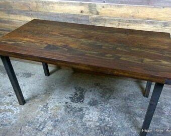 Reclaimed Salvaged Wood Dining Table or Desk with Dark Wood Stain