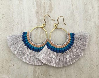 Light Gray Tassel Hoop Earrings, Tassle Fringe Hoops, Large Tassel Fan Earrings, Silver Tassels, Gold Hoop Earrings, Lightweight
