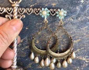 1stDayofSummerSALE Blue Enamel Haskell Pearl Chandelier Earrings Flower Romantic Bohemian Bridal