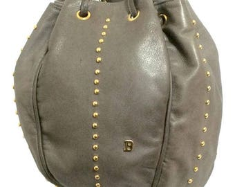 Vintage BALLY taupe gray lamb leather ball shape hobo bucket shoulder bag with golden B charm. Unique design.
