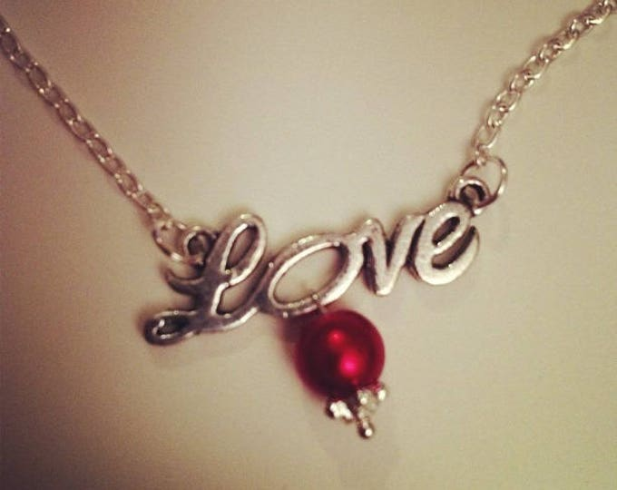 LOVE necklace silver chain with red bead