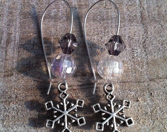 Snowflakes earrings large silvery black clasps