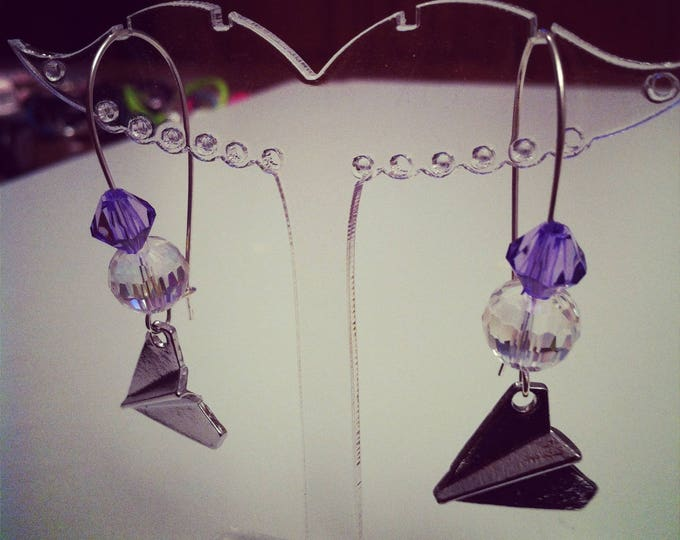 These earrings have large Harry Styles silver purple ties